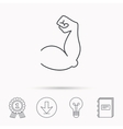 Biceps muscle icon Bodybuilder strong arm sign vector image