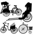 bicycle trishaw tricycle old wheel a set of vector image vector image