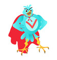blue cartoon super bird vector image