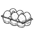 box with eggs in engraving style design element vector image