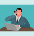 businessman talking on phone while sitting at vector image