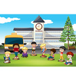 Children standing in front of school vector image vector image