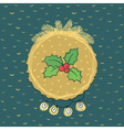Christmas and New Year round frame with holly vector image