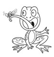 cute cartoon frog eats fly outlined on a white vector image
