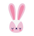 cute pink rabbit face cartoon character icon vector image vector image