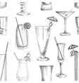 Doodle pattern cocktails vector image vector image