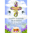 easter cross with cake egg and flower poster vector image vector image