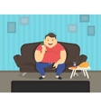 Fat man sitting at home on the sofa watching tv vector image