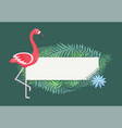 flamingo pink bird with exotic leaves blank banner vector image