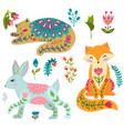 folk set colorful vector image vector image