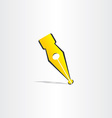 fountain pen yellow symbol design vector image