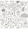 garden cute seamless pattern coloring book page vector image vector image