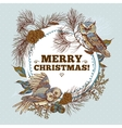 Ghristmas round frame with owls spruce and fir vector image vector image