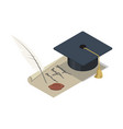 graduation cap with scroll isometric 3d elements vector image