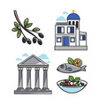 greek architectural and food symbols isolated vector image vector image