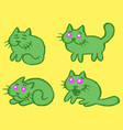 green cats emoticons set isolated vector image vector image