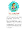 handcrafted gift girl sitting at table and cutting vector image vector image