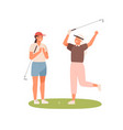 happy female friends celebrating win hit at hole vector image vector image