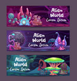 horizontal fantasy banners with magic plants and vector image vector image