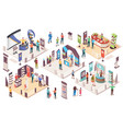 isometric expo people at exhibition trade center vector image vector image
