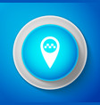 Map pointer with taxi icon on blue background