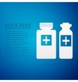 Medical bottles flat icon on blue background vector image