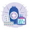 medication medicine bottle alcohol pills container vector image
