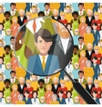 Men in crowd under magnifying glass flat vector image vector image