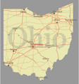 ohio detailed exact detailed state map vector image vector image