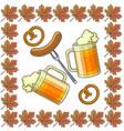 oktoberfest symbols beer and sausage pretzels vector image