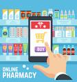 online pharmacy concept buyers hand vector image vector image