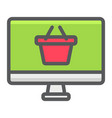 online shopping filled outline icon basket and pc vector image vector image