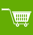 plastic shopping trolley icon green vector image vector image