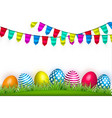 realistic decorated easter egg green grass vector image vector image