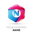realistic letter n in colorful hexagonal vector image vector image