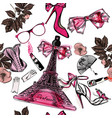 seamless fashion background with perfume eifel vector image vector image