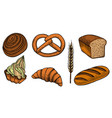set bread products vector image vector image