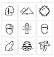 Set of Egypt Icons Sphinx Dune Sun vector image vector image
