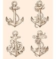 Set of hand drawn vintage anchors vector image vector image