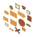 signpost road wooden icons set isometric style vector image