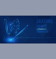 skiing freestyle speed race skating sport blue vector image vector image
