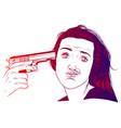 suicide girl handgun icon vector image vector image