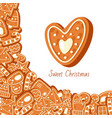 sweet christmas with gingerbread cookies vector image