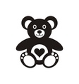 Teddy bear icon with heart vector image vector image