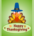 thanksgiving day background with turkey vector image