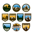 various set of adventure shield badge design vector image