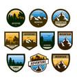 various set of adventure shield badge design vector image