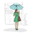 woman under umbrella and coffee in her hand vector image vector image