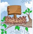 wooden sign in a bird nest cartoon vector image