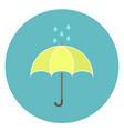 cute flat yellow umbrella icon with rain drops vector image